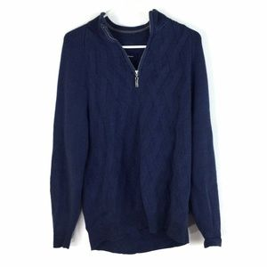 Tommy Bahama Mens 1/4 Zip Pullover Sweater Blue